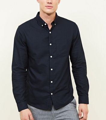 Navy Cotton Long Sleeve Oxford Shirt