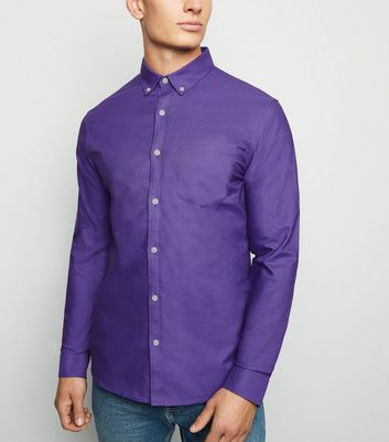 Purple Cotton Long Sleeve Oxford Shirt