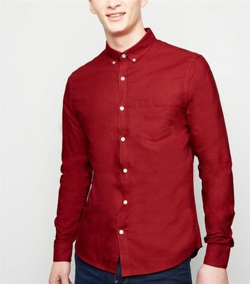 Red Cotton Long Sleeve Oxford Shirt