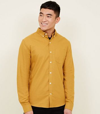 Yellow Long Sleeve Cotton Oxford Shirt
