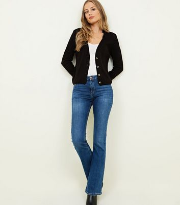 Black Ribbed Button Up Cardigan