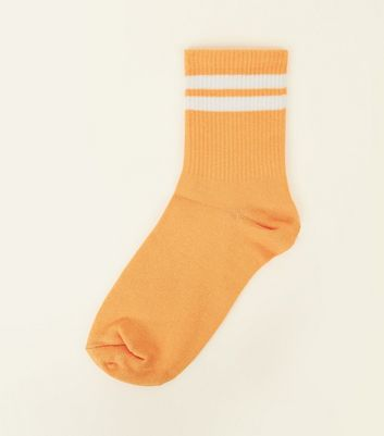 Orange Ribbed Sport Stripe Socks by New Look