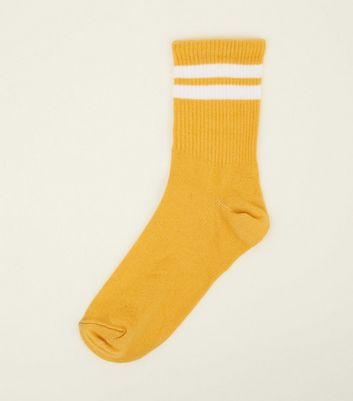 Yellow Ribbed Sport Stripe Socks by New Look