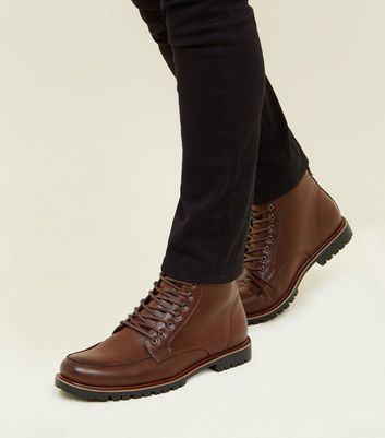 Dark Brown Cleated Sole Hiker Style Boots