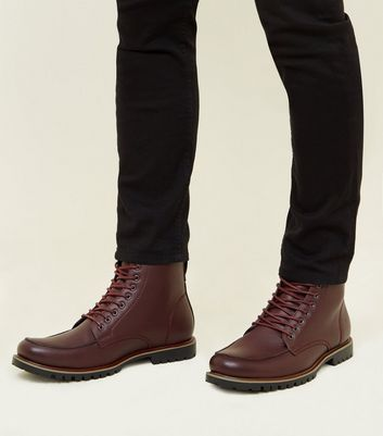 Burgundy Cleated Sole Hiker Style Boots