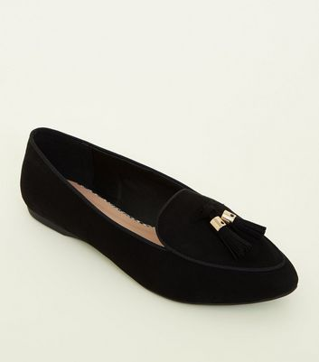 Girls Black Suedette Pointed Front Tassel Loafers