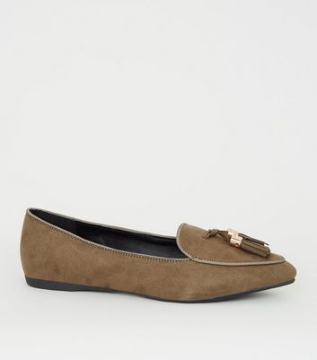 Girls Khaki Suedette Pointed Front Tassel Loafers