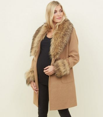 Maternity Camel Detachable Faux Fur Trim Coat