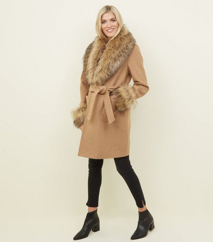 hot-selling sale uk discount up to 60% Maternity Camel Detachable Faux Fur Trim Coat Add to Saved Items Remove  from Saved Items