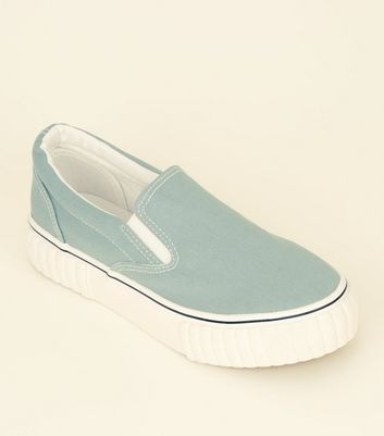 Mint Green Canvas Slip On Chunky Trainers