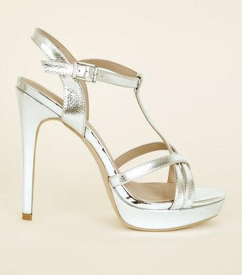 Silver Strappy Stiletto Heels
