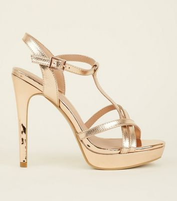 Gold Cross Strap Platform Heels