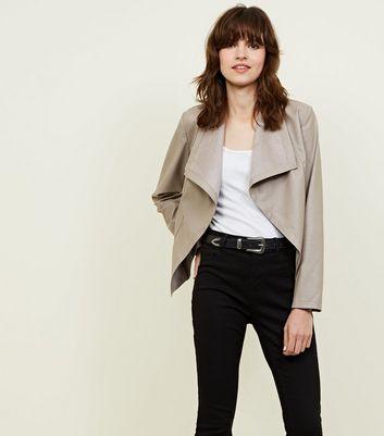 Mink Leather Look Waterfall Jacket New Look