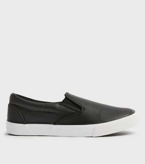 c227a55f6636 ... Black Faux Snake Slip On Trainers ...