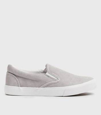 Grey Faux Snake Slip On Trainers