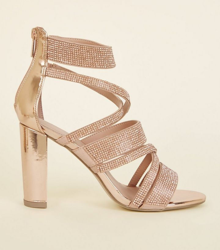 89c3c55a912f Rose Gold Diamanté Strappy Block Heels