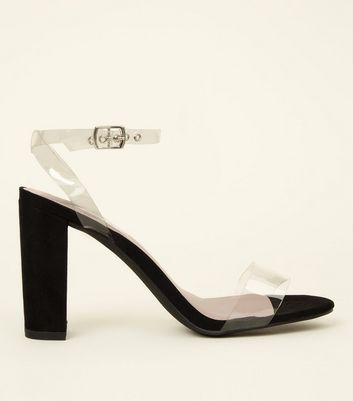 Black Clear Strap Block Heel Sandals