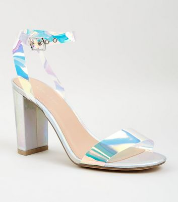 Silver Holographic Clear Strap Block Heels