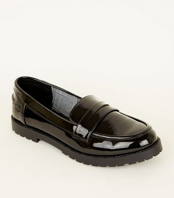 Girls Black Patent Chunky Sole Loafers