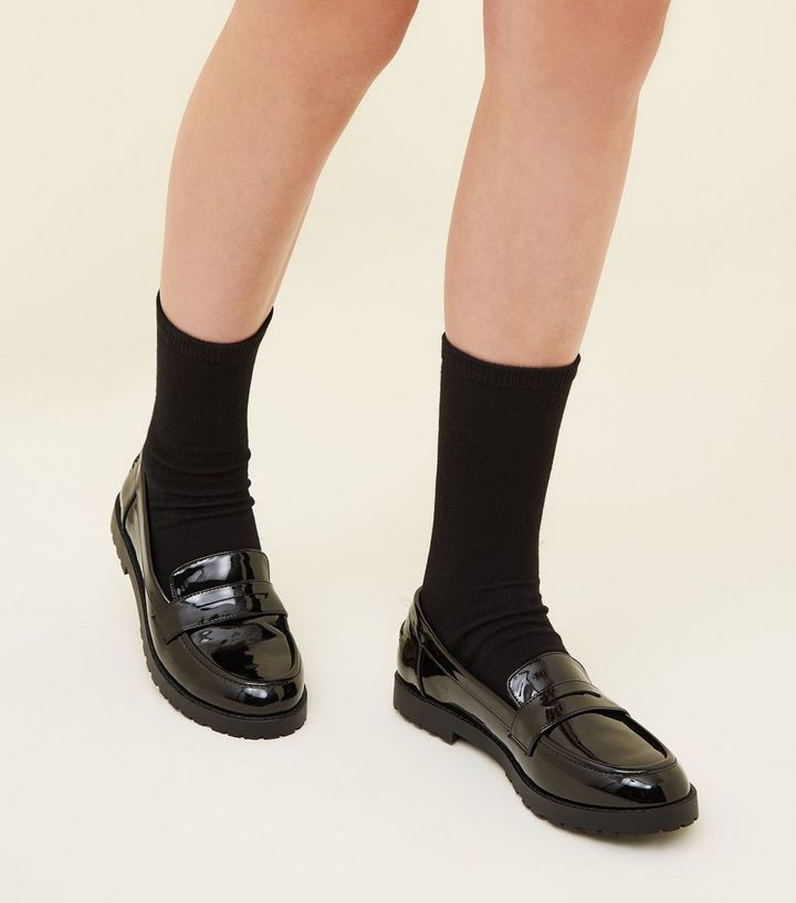 6081aef117c5 ... Girls Black Patent Chunky Sole Loafers. ×. ×. ×. Shop the look