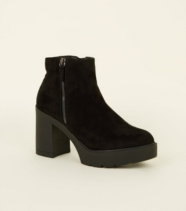 a4e45699c65 Black Suedette Zip Side Chunky Heel Ankle Boots Add to Saved Items Remove  from Saved Items