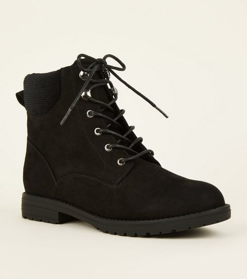 c0be65f8d04f ... Black Corduroy Panel Lace Up Boots ...