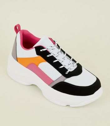 Multicoloured Chunky Lace-Up Trainers