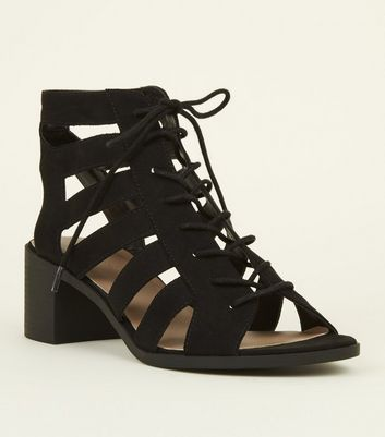 Black Suedette Cut Out Mid Heel Ghillie Sandals