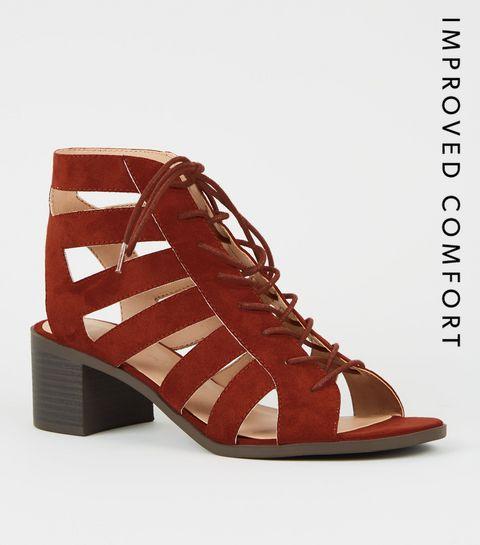 625506d7f48f ... Rust Suedette Cut Out Lace Up Ghillie Sandals ...