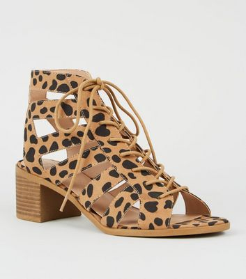 Brown Animal Print Lace Up Ghillie Sandals