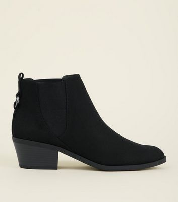 Black Suedette Ring Back Western Boots