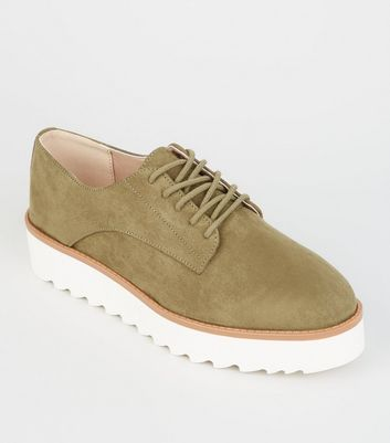 Khaki Suedette Lace Up Flatforms