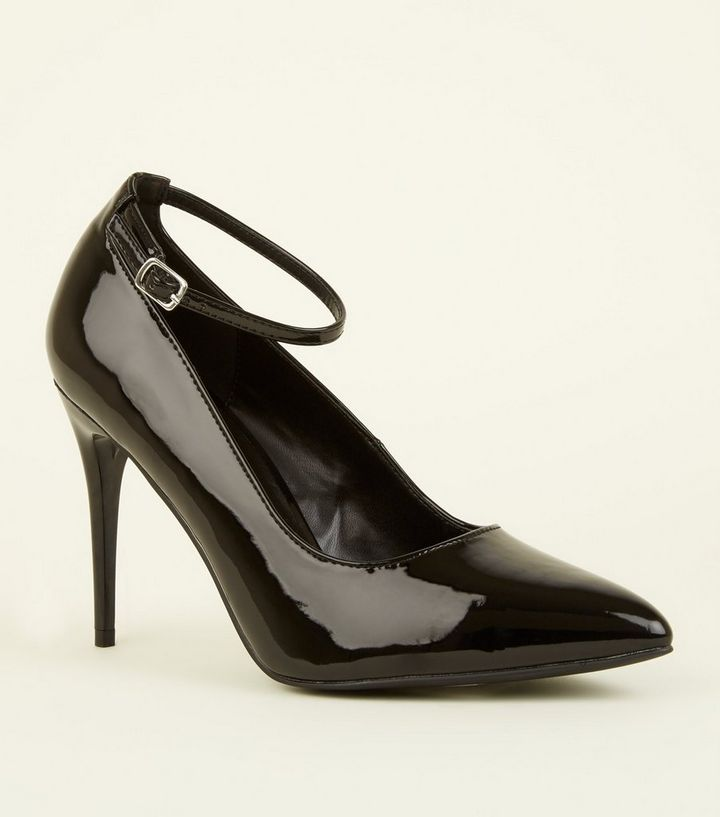 771b91bcc88 Black Patent Stiletto Heel Ankle Strap Courts Add to Saved Items Remove  from Saved Items