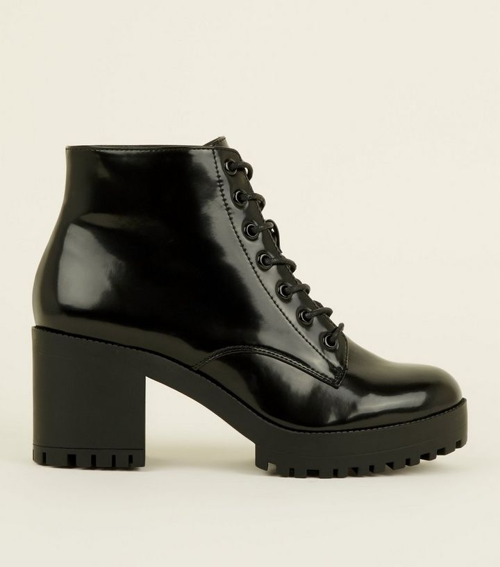 ffa6ceb38cf Black Patent Lace Up Chunky Ankle Boots