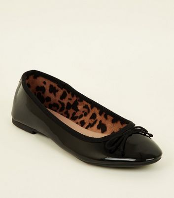 Black Patent Leather-Look Ballerina Pumps