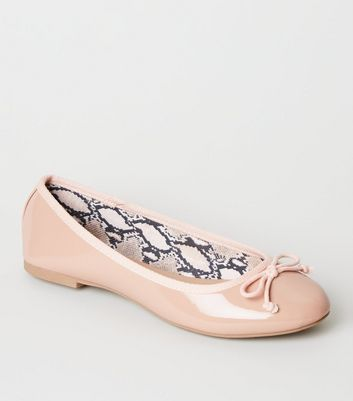 Nude Patent Snake Print Lined Ballet Pumps