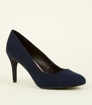 Navy Suedette Stiletto Court Shoes