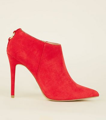 Red Suedette Ring Back Stiletto Shoe Boots