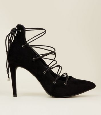 black lace shoes new look
