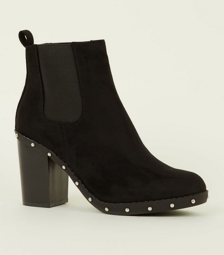 5dea3fa5af99 Black Studded Sole Block Heel Boots