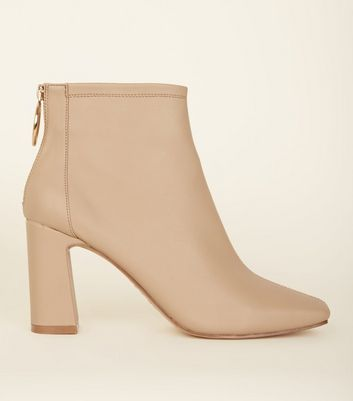 Camel Ring Zip Flared Heel Ankle Boots