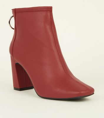 Red Leather-Look Ring Zip Flare Heel Ankle Boots
