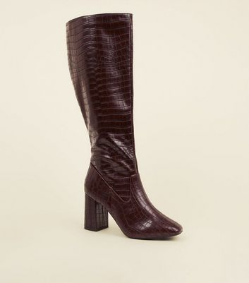Rust Faux Croc Block Heel Knee High Boots