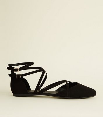 Wide Fit Black Suedette Strappy Pointed Pumps