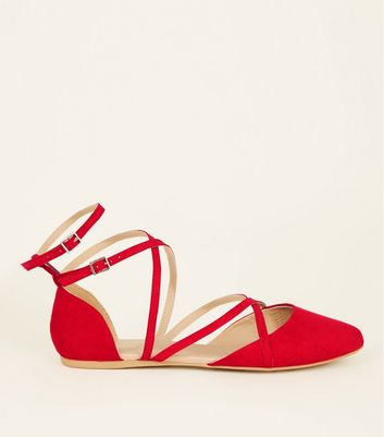 Wide Fit Red Suedette Strappy Pointed Pumps