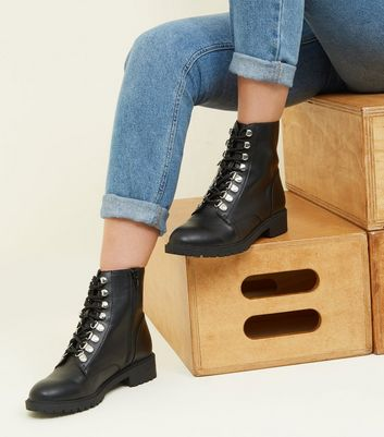 Black Leather-Look Contrast Lace Hiker