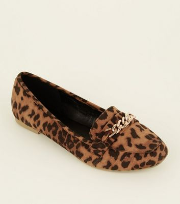 Wide Fit Tan Leopard Print Chain Loafers