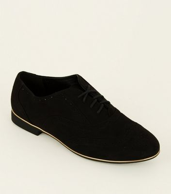 Black Suedette Piped Edge Brogues