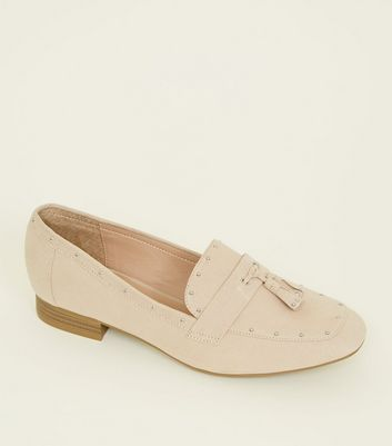 Wide Fit Nude Suedette Stud Trim Tassel Loafers