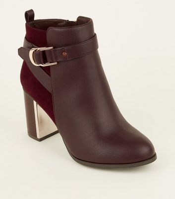 Wide Fit Dark Red Metal Block Heel Ankle Boots